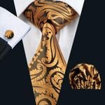 Men`s Ties Yellow Paisley Silk Jacquard Tie Hanky Cufflinks Set Men's Business Gift Ties For Men