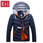 Winter Jacket Men Hat Detachable Warm Coat Cotton-Padded Outwear Men Coats Jackets Hooded Collar Slim Clothes Thick Parkas