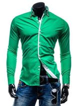Long Sleeve Shirts Casual Solid Multi-Button Hit Color Slim Fit Shirts