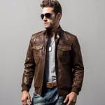 Men's motorcycle real leather jacket Genuine Leather jackets padding cotton winter warm coat men