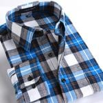 Spring Men's Casual Plaid Shirts Long Sleeve Slim Fit Comfort Soft Brushed Flannel Cotton Shirt Leisure Styles Man Clothes