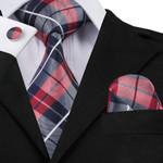 Colors Novelty Polyester Neck Tie Set Mens Tie Hanky Cufflinks Gravatas Corbatas Ties for Wedding Christmas Party