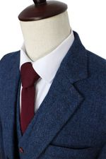 Wool Blue Herringbone Retro made suits