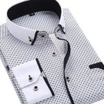 Men Fashion Casual Long Sleeved Printed shirt Slim Fit Male Social Business Dress Shirt Men Clothing Soft Comfortable