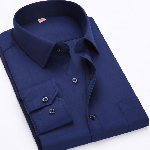 Classical Design Cotton Men Dress Shirts Business Formal Male Social Long Sleeve Pure Color Shirts