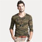 Printed Camouflage Long Sleeve Army Green T-shirt