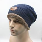 Knit Men's Winter Hat Caps Skullies Bonnet Winter Hats For Men Women Fur Warm Baggy Wool Knitted Hat