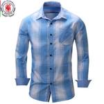 Men's shirt  Long Sleeve Plaid Shirts Mens Dress Shirt Brand Casual Denim Style Checks Tops