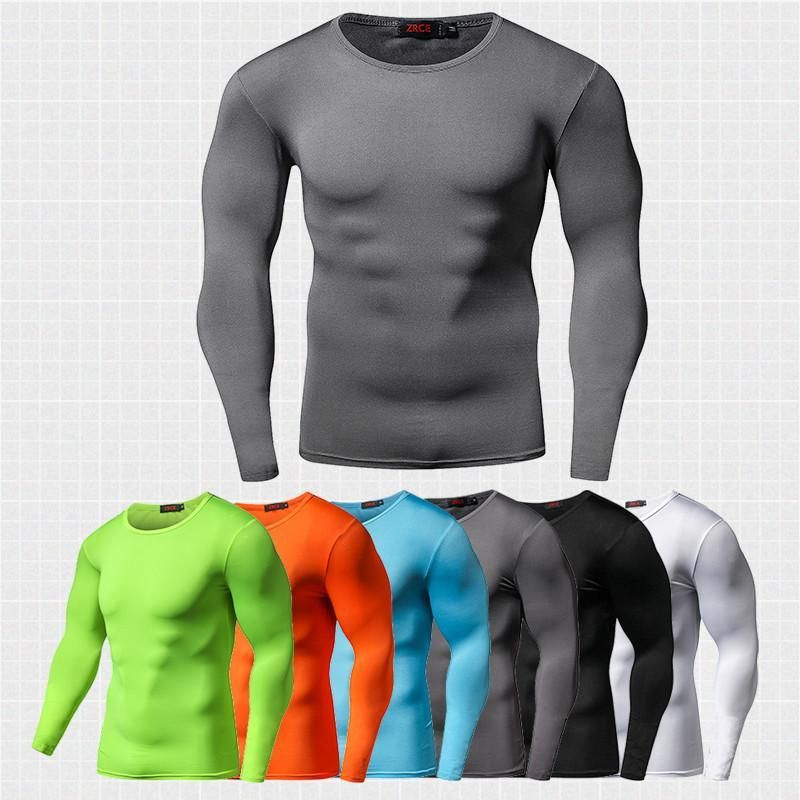 New Arrival Quick Dry Compression Shirt Long Sleeves T shirt Fitness Clothing Solid Colorquick Dry Bodybuild Crossfit