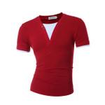 Male Short Sleeve Fake Two T Shirt V-Neck Slim Men T-Shirt Camisetas Fashion Hombre Tee Shirt Home T Shirts