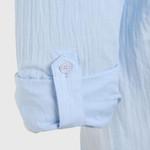 Shirts Men Summer Solid Plain Mandarin Chinese Half Collar Cotton Long Sleeve Society Classic Grandad