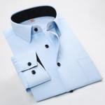 Men Long Sleeved Shirt Slim Fit Style Design Solid Color Business Casual Dress Shirt Male Social Men Clothing