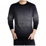 O-Neck Long Sleeve Casual Wool Shirt