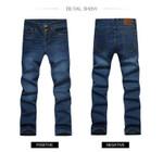 Men jean New Fashion Men Casual Jeans Slim Straight High Elasticity Feet Jean Loose Waist Long Trousers
