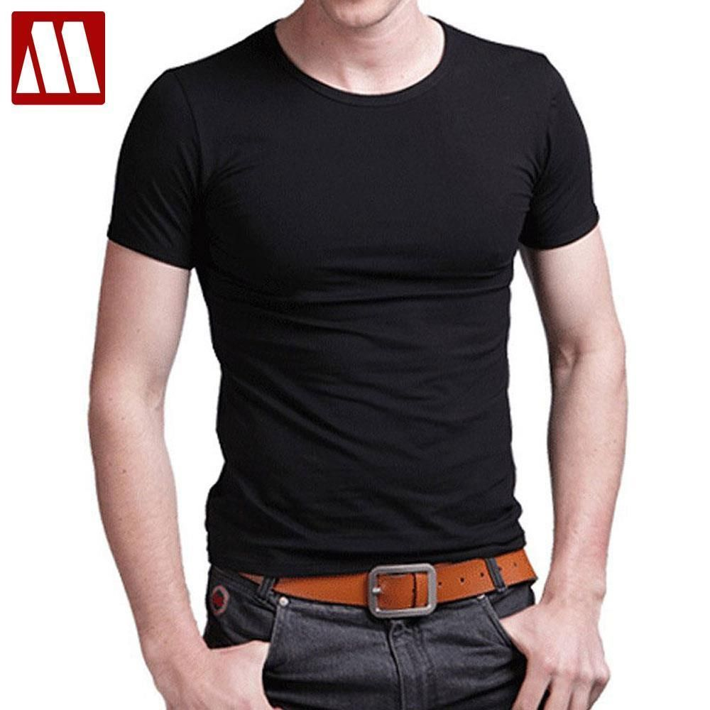 Cotton stretch Men T shirt men's o-neck short-sleeve T shirts Casual Slim solid color Tshirts Men Tops Tees S-5XL