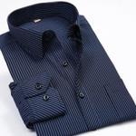 Fashion New Men Shirts Male Striped Formal Dress Shirt  Long Sleeve Mens Casual Shirts Plus Big Size US Size 5XL 6XL