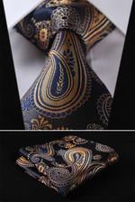"""Gold Blue Floral 3.4"""" 100%Silk Wedding Jacquard Woven Men Tie Necktie Pocket Square Handkerchief Set Suit"""
