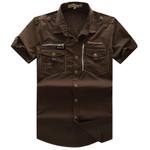 Men's Shirt New Men Cargo Shirt Fashion Casual Short Sleeve Mens Shirt 100% Cotton Solid Plus Size S-XL