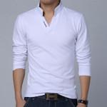 New Fashion Men Clothes Solid Color Long Sleeve Slim Fit T Shirt Men Cotton T-Shirt Casual T Shirts
