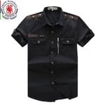 New Men Cargo Shirt Men's Fashion Shirt Short Sleeve Mens Casual Work Tops100% Cotton Solid Zipper for Man Plus Size