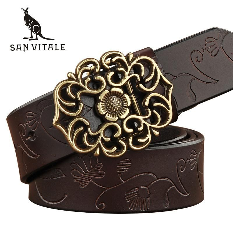 New Designer Women's Belts Fashion Genuine Leather Straps Female Waistband Pin Buckles Fancy Vintage for Jeans