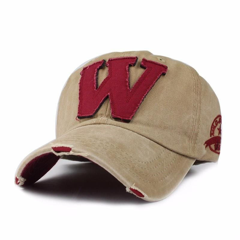 Cotton Embroidery Letter W Baseball Cap Snapback Caps Bone Sports Hat Distressed Wearing Style Outdoor Hat For Men Custom