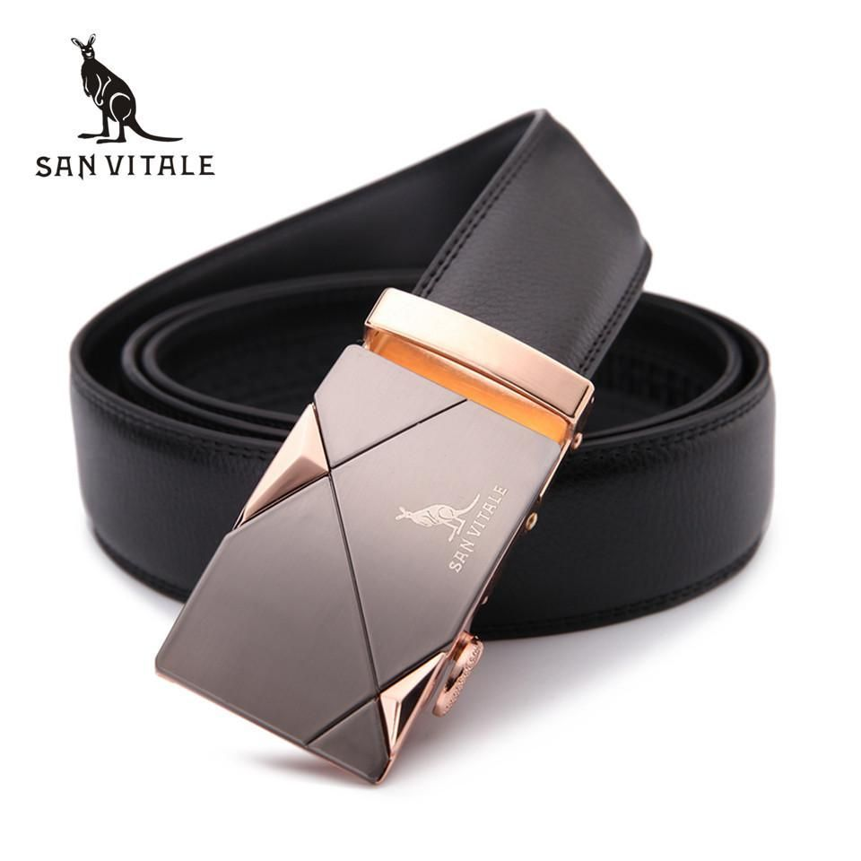 Men's fashion 100% Genuine Leather belts for men High quality metal automatic buckle Strap male Jeans cow boy