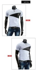 Casual Patchwork leather Cotton Slim Fit T-Shirt