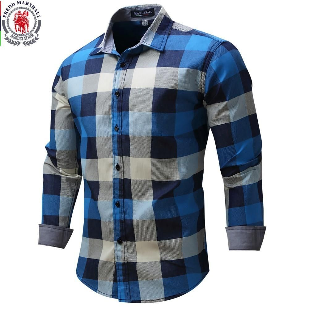 New Arrival Men's shirt  Long Sleeve Plaid Shirts Mens Dress Shirt Brand Casual Denim Style Checks Blue Shirts 088