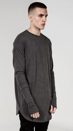 Men Hip Hop T Shirt full Long Sleeve T-Shirt With Thumb Hole Cuffs Tees shirts Curve Hem Men Street Wear Tops