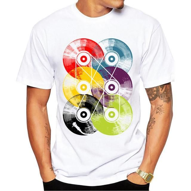 Fashion Retro Wood/ Record Printed Men T shirt Short Sleeve Casual t-shirt Hipster Fractal Pattern tees Cool Tops