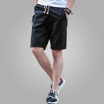 Men's Casual Black Cotton Slim Shorts