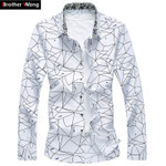 Men Printed Long Sleeve Shirt Slim Business Leisure Shirt Plus Size 5XL 6XL 7XL Male Casual Shirt Tops