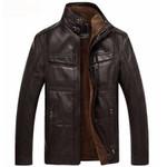 Leather Jacket Men Coats High Quality Outerwear Men Business Winter Faux Fur Male Jacket