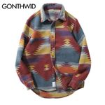 Hip Hop Tie Dye Snap Button Long Sleeve Shirts