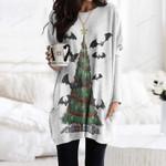 Christmas Bats Pocket Long Top Women Blouse QA261029