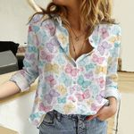 Butterfly Cotton And Linen Casual Shirt KH271007