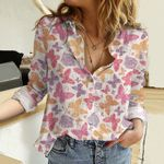 Butterfly Cotton And Linen Casual Shirt KH271011