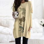 Frogs Pocket Long Top Women Blouse QA271014