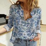 Skeleton Mermaid Cotton And Linen Casual Shirt QA281017