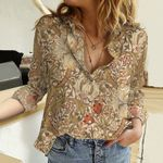 Lily Flower Cotton And Linen Casual Shirt KH311010