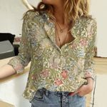 Lily Flower Cotton And Linen Casual Shirt KH311012