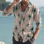 Octopus - Marine Life Cotton And Linen Casual Shirt KH180110