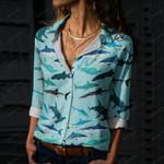 Sharks On Blue Cotton And Linen Casual Shirt QA200105