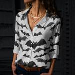 Watercolor Bats Cotton And Linen Casual Shirt QA200113