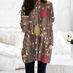 Hedgehog - Woodland Animals Pocket Long Top Women Blouse KH210103