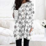 Hedgehog - Woodland Animals Pocket Long Top Women Blouse KH210105