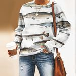 Sturgeon, Beluga, Paddlefish, Bowfin - Fishes Unisex All Over Print Cotton Sweatshirt KH220103