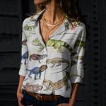 Green Anole, Forest Iguana - Lizard - Reptile Cotton And Linen Casual Shirt KH250110