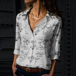 Mushrooms On White Cotton And Linen Casual Shirt QA260102